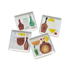 Set of 4 Cocktail Recipe Plates ~ Graphically illustrated ingredients give a hint to the makings of the featured cocktail on each of the set's four appetizer plates. Flip them over and you'll find the detailed recipe for a mint julep, whiskey sour, old-fashioned or manhattan penned in metallic lettering.
