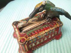 Cast Iron Toothpick Holder-- Antique Bird of Prey--Very Heavy--Old Picker