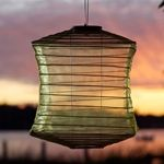 lightsforalloccasions.com green silk square lantern. Solar powered