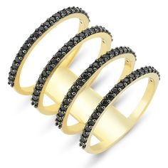 Four Lines Ring in 18k gold with black CZ crystals . Shop all of our rings at www.amorium.com