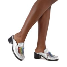 Iconic Crystal Fringe Mule Silver & Multi Metallic Leather, Shoe Box, Shoe Brands, Leather Heels, Italian Leather, Perfect Fit, Dust Bag, Crystals, Silver