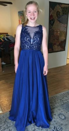 Gorgeous dress by La Femme Blue Prom Dress Size 6 - Never worn!  #promagain #prom #formal #dress #gown #resale #preowned #cheap #buy #sell #blue