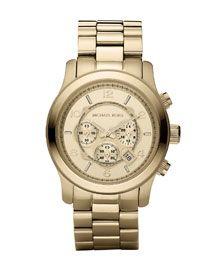 Y046K Michael Kors Golden Oversized Runway Watch