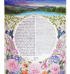 Custom Ketubahs, Silk Scrolls, Hand Painted Wedding Contract, Vows and Calligraphy with Watercolor Art. Museum quality painting and calligraphy. Brush Strokes, Watercolor Art, Attraction, Museum, Tapestry, Hand Painted, Ink, Artist, Painting