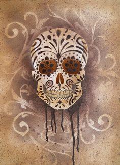 Sugar Skull Stencil Print 5 by darcydoll.deviantart.com