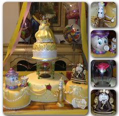 Four tier Beauty and the  Beast princess Belle fondant cake yellow/ gold with pearls, suspended flower and characters