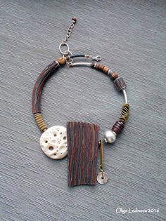 https://flic.kr/p/Lv99y4 | Necklace of polymer clay CERNIT. Imitation wood.