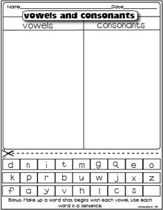 Worksheet for Kindergarten Vowels then Vowels and Consonants Vowel Worksheets, Vowel Activities, Literacy Activities, Printable Worksheets, Literacy Centers, Free Printables, Free Worksheets, Kindergarten Language Arts, Kindergarten Worksheets
