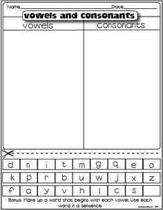 vowels and consonants freebie