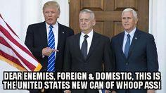 God Bless & Protect President Elect Trump, General Mattis, & Vice President Pence! #MAGA