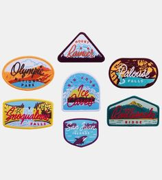 This travel patch set captures seven of Washington's natural beauties in brightly colored thread. Each sew on patch exhibits a scenic snapshot of each wonder, with a vintage typeface caption in contrasting color thread. Keep 'em all for yourself, or gift a few to your hiking partner.