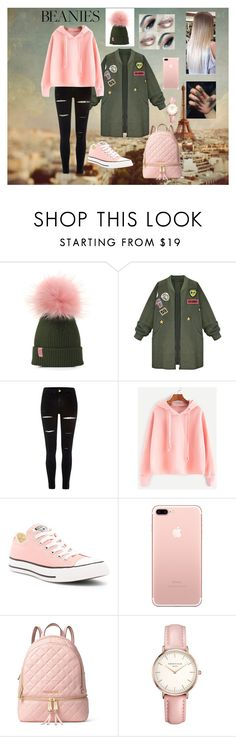 """Pink PomPom"" by meli67 ❤ liked on Polyvore featuring WithChic, River Island, Converse, MICHAEL Michael Kors, Topshop and pompombeanies"