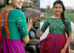 Handloom gown with purple and orange shades with contrasting pearl embroidered yoke Customisable as per measurements.kindly writ to teamyellow Cotton Saree Blouse Designs, Kurti Neck Designs, Long Frocks For Kids, Pink Fashion, Fashion Dresses, Frock Models, Frocks And Gowns, Formal Tops, Indian Gowns Dresses