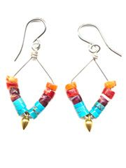 Multicolored Heshi Earrings in turquoise and coral.