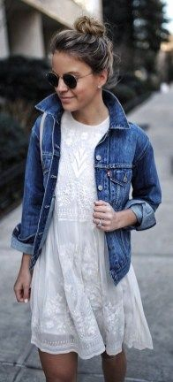 Denim jacket with white embroidered dress: Casual But Cute Spring Outfits Ideas 08