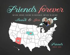 Best Friends, Birthday Gift for Friend, Moving Away, Long Distance -  Personalized Art Print, Sisters, Photo Map, Close Friends, Unique