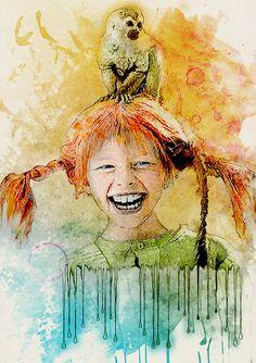 Pippi Longstocking by julietvanree Mixed Media Painting, Painting Prints, Art Prints, Painting Art, Illustrations, Illustration Art, Pippi Longstocking, Watercolor Mixing, My Idol