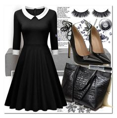 """""""Retro Women Long Sleeve Dress"""" by azra-v ❤ liked on Polyvore featuring vintage, dress and rosegal"""