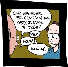 "A: ""Can we ever be certain an observation is true?"" B: ""Yep."" A: ""How?"" B: ""Lookin'.""  Source: SMBC Comics"