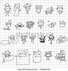 vector sketch halloween cartoon character - stock vector
