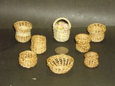 Wooden Handle Miniature Chandronnait Round Easter-Style Basket DOLLHOUSE 1:12