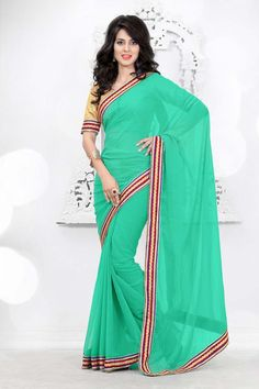 Green Chiffon Party Wear Saree