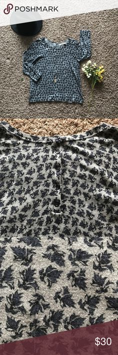 Ann Taylor LOFT Floral Button Back Sweater This sweater is really beautiful! Your classic crewneck sweater with a beautiful blue floral print and a styled button back. Easily worn all year long, dressed up or down for any event, and very comfortable! Only worn a couple times this lightweight sweater is a must have ladies!  - Material: 100% cotton LOFT Sweaters Crew & Scoop Necks