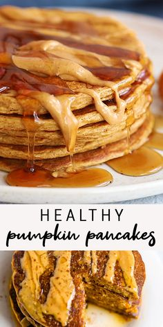 Flourless and easy pumpkin pancakes made with oats and cottage cheese Full of pumpkin spice flavor and packed with protein and fiber these gluten-free pancakes are the perfect way to fuel a morning pumpkinpancakes flourless glutenfree eatingbirdfood Healthy Sweets, Healthy Breakfast Recipes, Healthy Baking, Clean Eating Recipes, Cooking Recipes, Healthy Recipes, Healthy Cottage Cheese Recipes, Lactose Free Recipes, Flour Recipes
