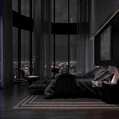 Black Bedroom Design, Black Interior Design, Home Room Design, Dream Home Design, Modern House Design, Luxury Bedroom Design, Modern Master Bedroom, Dream House Interior, Luxury Homes Dream Houses