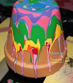 Pour-painted terracotta pots.