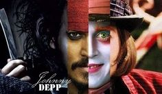 Johnny Depp-as sweeny todd, edward scissor hands, jack sparrow, mad hatter, and willy wonka. coolest picture ever!