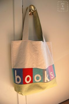 Library Book Bag w/Reverse Applique-link to free bag pattern, w/instructions for lettering