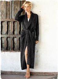 Fabulous for a gift or wish list, our bestselling robe is knit in a lofty, donegal tweed of wool (60%) and premium royal alpaca (40%). Detailed with a snuggly shawl collar, pockets, side slits and self belt.