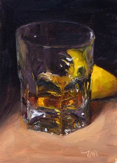 "Julian Merrow-Smith Whisky and half lemon, 5""x7"", oil on board"