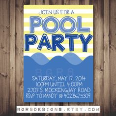 POOL PARTY Invitation! DIY Printable digital file! Custom! Invite your friends and family to a summer pool party with this super cute card!