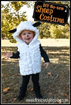 DIY NO-SEW SHEEP COSTUME  Could make quick easy hooded vest out of white fleece!