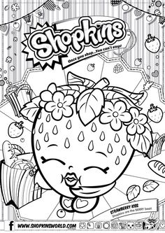 Coloring pages and books on pinterest coloring pages for Strawberry kiss shopkins coloring page