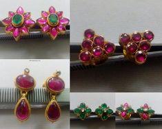 large ruby and emerald studs, Simple earrings for all ages. large studs for adults Simple Earrings, Gemstone Earrings, Diamond Earrings, 22 Carat Gold, Gold Hoops, Indian Jewelry, Antique Jewelry, Bracelet Watch, Emerald