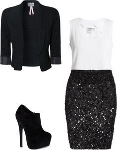 A black sequin skirt/white shirt combo, and adding the tuxedo coat, is sophistication front and center. Black Sequin Skirt, Black Sequins, Look Fashion, Fashion Outfits, Womens Fashion, Woman Outfits, Fashion Tips, Looks Style, My Style