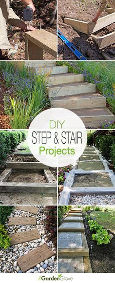 DIY Garden Steps and Outdoor Stairs A round-up with great ideas & tutorials of step and stair projects for the garden and yard! DIY Garden Steps and Outdoor Stairs A round-up with great ideas & tutorials of step and stair projects for the garden and yard! Backyard Projects, Outdoor Projects, Garden Projects, Garden Ideas, Backyard Patio, Diy Projects, Garden Paths, Garden Landscaping, Landscaping Ideas