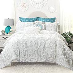 Amazon.com: DriftAway Drift Away Vintage-inspired 3 Piece Aurora Pinch Pleat Ruffled Designer Embellished Comforter Set (King): Home & Kitchen