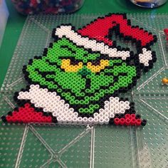 The Grinch - Christmas perler beads by heyitschristina Melty Bead Patterns, Pearler Bead Patterns, Perler Patterns, Pearler Beads, Beading Patterns, Perler Bead Designs, Perler Bead Templates, Perler Bead Art, Pixel Beads