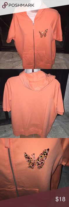 """Coral Short Sleeved Hoodie X Large Short sleeve lightweight Hoodie. Has front zipper, front pockets.  Pretty """" sparkle butterfly.  95% Cotton, 5 % Spandex.  Bright Coral. tape measure Tops Sweatshirts & Hoodies"""