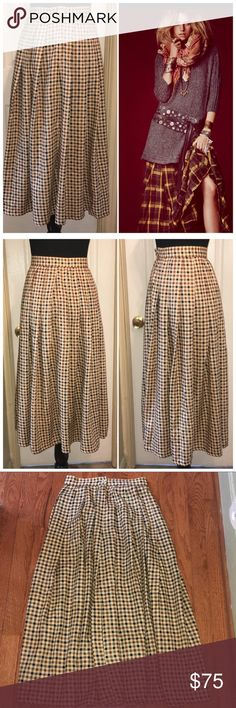 Vintage Calvin Klein Maxi Gingham Plaid Skirt Sz 2 Vintage Calvin Klein Maxi Gingham Plaid Skirt Sz 4. Yellow, Brown, Navy Blue and Gray Gingham Lines. Side Zipper & Button Closure Midline. Full Skirt. Pleated Construction In Front & Back.  Measurements: Waist Circumference: 26 inches/ Hip Circumference: 41 inches/ Length: 32.5 inches. Calvin Klein Skirts