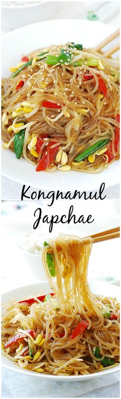 Quick and easy japchae made with soybean sprouts! Japchae is a Korean dish made with sweet potato starch noodles. Korean Dishes, Korean Food, Vegetarian Recipes, Cooking Recipes, Healthy Recipes, Japchae, Asian Recipes, Ethnic Recipes, Easy Korean Recipes