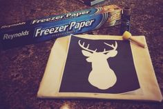 Cut stencil out, iron shiney side down onto fabric and paint away ......Freezer Paper Stencil. World's Simplest Craft #diy