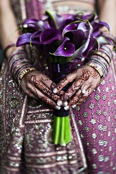 Purple calla lily bouquet indian wedding
