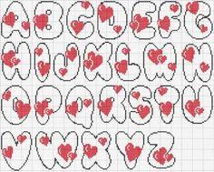 alfabeto cuori rossi