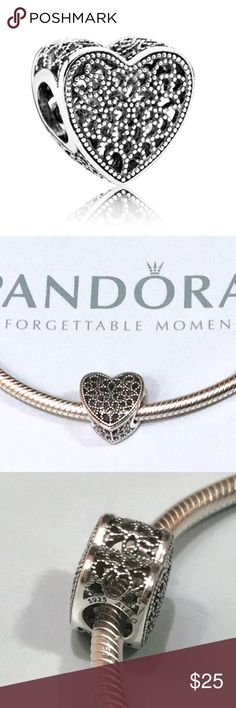 PANDORA FILLED WITH ROMANCE BALI STYLE HEART CHARM NEW Pandora Jewelry Bracelets