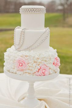 White Cake with Silver Pearls & Pink Roses